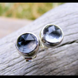 6mm quartz and silver stud earrings